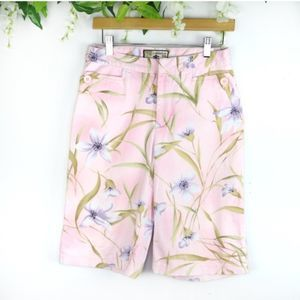 Vintage Preppy Pink Floral Cotton Shorts 6